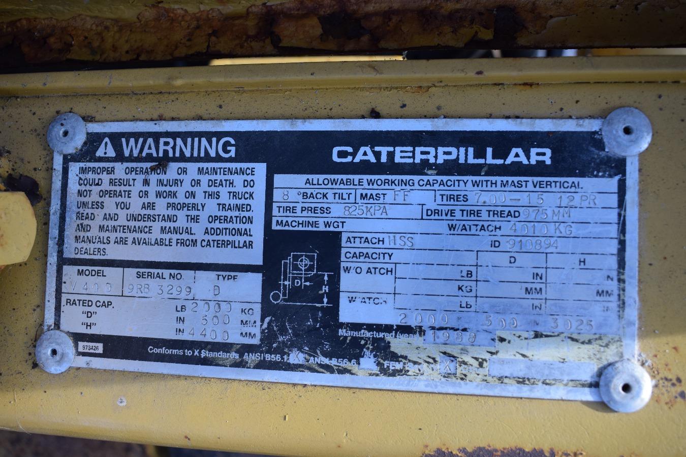 Caterpillar V40D Forklift Truck. Item did not sell